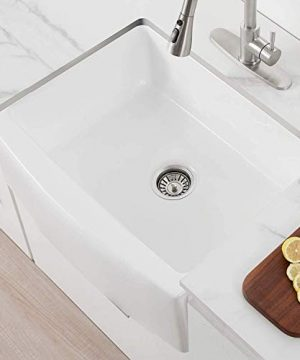 24 Inch Farmhouse Kitchen Sink Fireclay Single Bowl Small Sink White Kitchen Sink With Protective Bottom Grid And Strainer 0 4 300x360