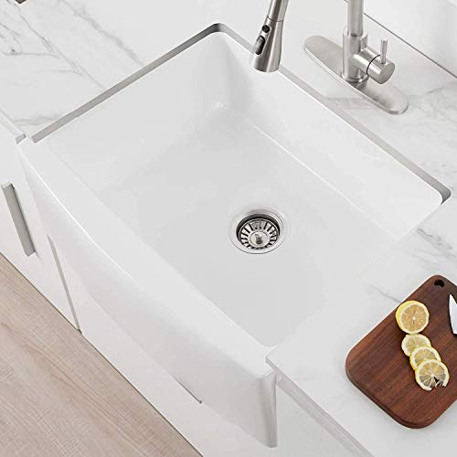 24 Inch Farmhouse Kitchen Sink Fireclay Single Bowl Small Sink White Kitchen Sink With Protective Bottom Grid And Strainer 0 4