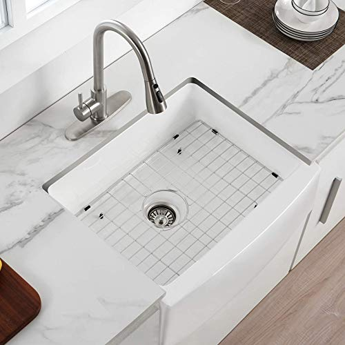 24 Inch Farmhouse Kitchen Sink Fireclay Single Bowl Small Sink White Kitchen Sink With Protective Bottom Grid And Strainer 0
