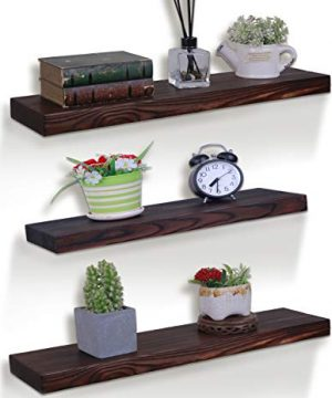 24 Inch Rustic Wood Floating Shelves Farmhouse Wooden Wall Shelves For Bathroom Bedroom Living Room Kitchen Office Brown Set Of 3 Model 5 0 300x360