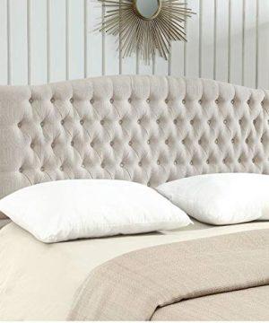 24KF Linen Upholstered Tufted Button King Headboard And Comforrtable Fashional Padded KingCalifornia King Size Headboard Ivory 0 300x360