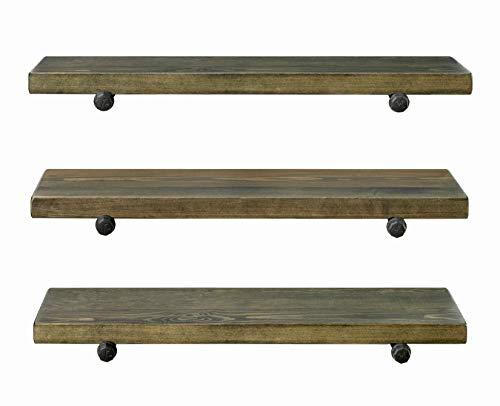 3 Tier Wood Shelves With Black Pipe Brackets Walnut 3 Tier 0 5