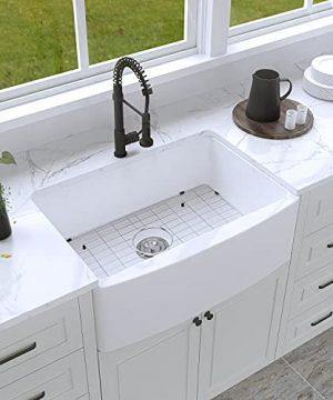 30 Farmhouse Kitchen Sink White Enbol 30x21 Inch Apron Front White Porcelain Farmhouse Undermount Single Bowl Sink PA3021 0 0 300x360