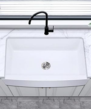 30 Farmhouse Kitchen Sink White Enbol 30x21 Inch Apron Front White Porcelain Farmhouse Undermount Single Bowl Sink PA3021 0 2 300x360