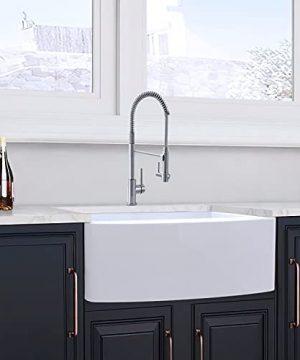 30 Farmhouse Kitchen Sink White Enbol 30x21 Inch Apron Front White Porcelain Farmhouse Undermount Single Bowl Sink PA3021 0 4 300x360