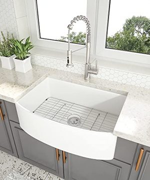 30 White Farmhouse Sink Couoko 30 Inch Apron Front Farmhouse Sink Arch Edge Curved White Fireclay Ceramic Porcelain Single Bowl Kitchen Sink 0 300x360