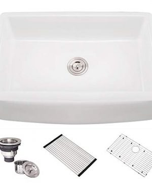 30 Inch Fireclay Farmhouse Sink HOSINO White Kitchen Sink Apron Front Sink Single Bowl Farmers Sink Handcrafted Farm Sink With Accessories Deep Sink Curved Sink Front 0 300x360