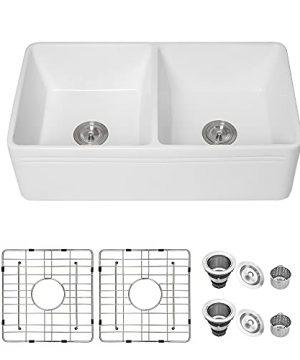 33 Farmhouse Double Sink White Lofeyo 33 X 18 Kitchen Sink Double Bowl 5050 White Ceramic Porcelain Fireclay Apron Front Reversible Farm Sink Basin 0 300x360