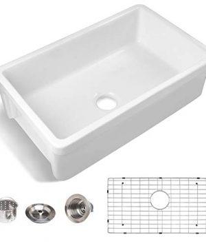 33 Farmhouse Kitchen Sink White Enbol 33x20 Porcelain Farmhouse Undermount Kitchen Sink Apron Front Ceramic Single Bowl PF3320 0 300x360