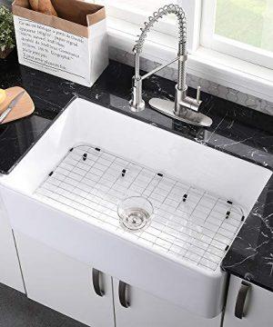 33 Farmhouse Sink White VASOYO 33 Inch White Kitchen Sink Apron Front Fireclay Ceramic Porcelain Deep Single Bowl Reversible Kitchen Sinks 0 300x360