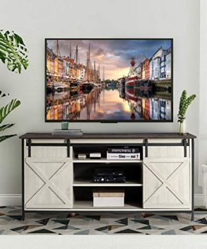 AILEEKISS TV Stand For TVs Up To 65 Entertainment Center Television Stands With Sliding Barn Door Farmhouse TV Stands Cabinet Storage Cabinet With Adjustable Shelves For Living Room WhiteBrown 0 300x360