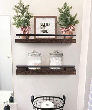 AKKO Floating Shelves For Wall Set Of 2 Rustic Wood Wall Mounted Storage Shelves Perfect Home Decor For Bathroom Farmhouse Kitchen Bedroom And Living Room 0 300x360