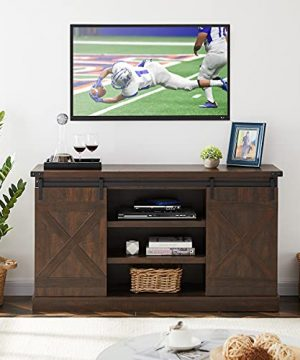 AMZOSS TV Cabinet Modern Vintage Farmhouse Style 54 Farmhouse Wood TV Stand With Sliding Barn Doors 54L 31H 16W Ideal Media Storage With Storage Space For Living Room Bedroom 0 300x360