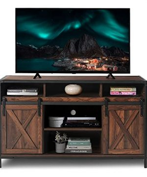 AODAILIHB Modern Farmhouse Grooved Wood TV Stand For TVs Up To 50 With Storage Cabinet Doors And Shelves Entertainment Center Living Room Storage 28 Inches Tall Dark Brown 0 300x360