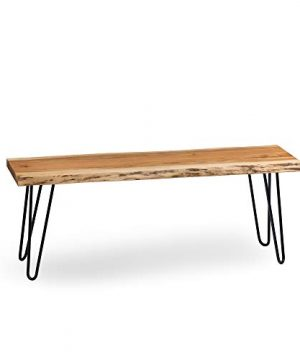 Alaterre Furniture Hairpin Natural Live Edge Wood With Metal 48 Bench 0 300x360