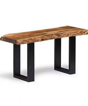 Alpine Natural Live Edge 36 Wood Bench Brown Cabin Lodge Farmhouse Industrial Solid Acacia Finish 0 0 300x360