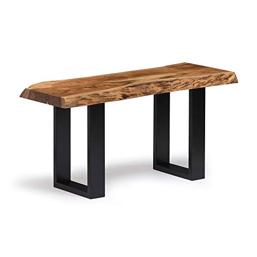 Alpine Natural Live Edge 36 Wood Bench Brown Cabin Lodge Farmhouse Industrial Solid Acacia Finish 0 0