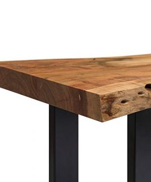 Alpine Natural Live Edge 36 Wood Bench Brown Cabin Lodge Farmhouse Industrial Solid Acacia Finish 0 1 300x360