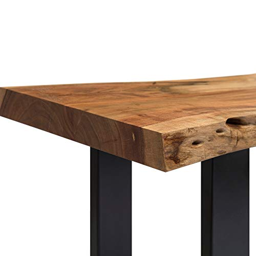 Alpine Natural Live Edge 36 Wood Bench Brown Cabin Lodge Farmhouse Industrial Solid Acacia Finish 0 1