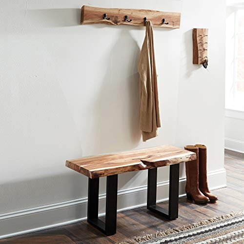 Alpine Natural Live Edge 36 Wood Bench Brown Cabin Lodge Farmhouse Industrial Solid Acacia Finish 0 2