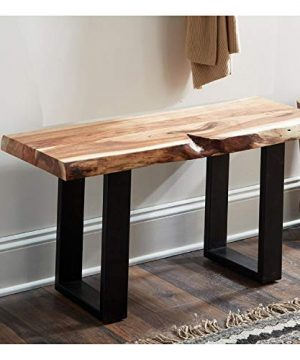 Alpine Natural Live Edge 36 Wood Bench Brown Cabin Lodge Farmhouse Industrial Solid Acacia Finish 0 300x360