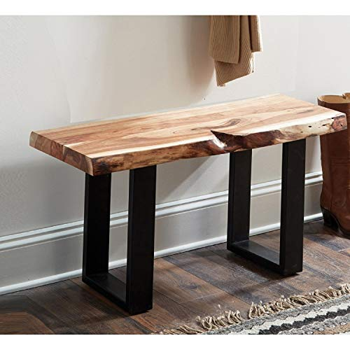 Alpine Natural Live Edge 36 Wood Bench Brown Cabin Lodge Farmhouse Industrial Solid Acacia Finish 0
