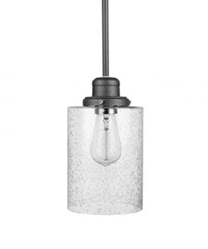 Amazon Brand Ravenna Home Single Light Pendant Light With Seeded Glass Shade Vintage Edison Bulb Included 571H Graphite Finish 0 300x360