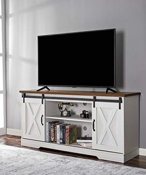 Amerlife TV Stand Sliding Barn Door ModernFarmhouse Wood Entertainment Center Storage Cabinet Table Living Room With Adjustable Shelves For TVs Up To 65 Distressed WhiteRustic 0 300x360