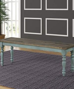 Antique BlueWeathered Brown Wood 2 Tone Upholstered Dining Bench Blue Farmhouse 0 300x360