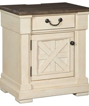 Ashley Furniture Signature Design Bolanburg One Drawer Night Table With Cabinet Vintage Casual Antique White 0 300x360