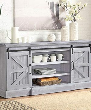 BELLEZE Ashford 60 Farmhouse Universal Stand Console Fit TVs Up To 65 Living Room Storage Barn Doors And Shelves Entertainment Center Stone Grey 0 300x360