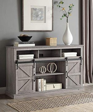 BELLEZE Parker 52 TV Stand Sliding Console For TVs Up To 60 Entertainment Center Gray Wash 0 300x360