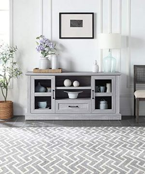 BELLEZE Trussati 62 TV Stand Console Fit TVs Up To 70 Entertainment Center Drawer Storage Shelves Cabinet Stone Grey 0 300x360