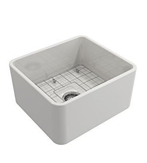 BOCCHI 1136 001 0120 Classico Apron Front Fireclay 20 In Single Bowl Kitchen Sink With Protective Bottom Grid And Strainer In White 0 2 300x333