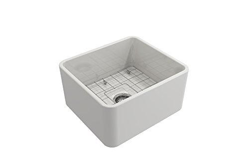 BOCCHI 1136 001 0120 Classico Apron Front Fireclay 20 In Single Bowl Kitchen Sink With Protective Bottom Grid And Strainer In White 0 2