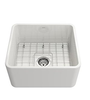 BOCCHI 1136 001 0120 Classico Apron Front Fireclay 20 In Single Bowl Kitchen Sink With Protective Bottom Grid And Strainer In White 0 3 300x333