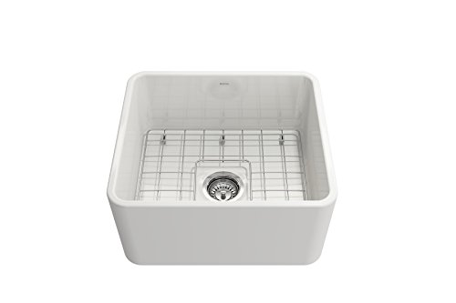 BOCCHI 1136 001 0120 Classico Apron Front Fireclay 20 In Single Bowl Kitchen Sink With Protective Bottom Grid And Strainer In White 0 3