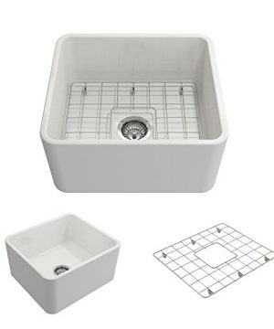 BOCCHI 1136 001 0120 Classico Apron Front Fireclay 20 In Single Bowl Kitchen Sink With Protective Bottom Grid And Strainer In White 0 300x360