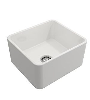 BOCCHI 1136 001 0120 Classico Apron Front Fireclay 20 In Single Bowl Kitchen Sink With Protective Bottom Grid And Strainer In White 0 5 300x333