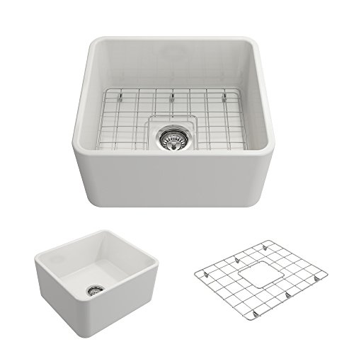 BOCCHI 1136 001 0120 Classico Apron Front Fireclay 20 In Single Bowl Kitchen Sink With Protective Bottom Grid And Strainer In White 0