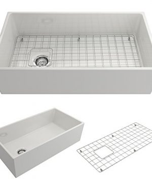 BOCCHI 1354 001 0120 Contempo Apron Front Fireclay 36 In Single Bowl Kitchen Sink With Protective Bottom Grid And Strainer In White 0 300x360
