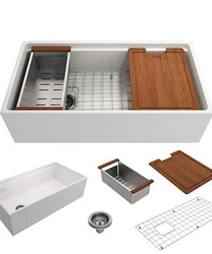 BOCCHI 1505 001 0120 Contempo Workstation Apron Front Step Rim Fireclay 36 In Single Bowl Kitchen Sink With Accessories In White 0 300x360