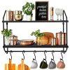 BOLUO Kitchen Wall Shelf Black Floating Shelves Bathroom Mounted Shelfs With Towel Bar Hooks For Coffee Mugs 24 Inch WS604 60B 0 100x100
