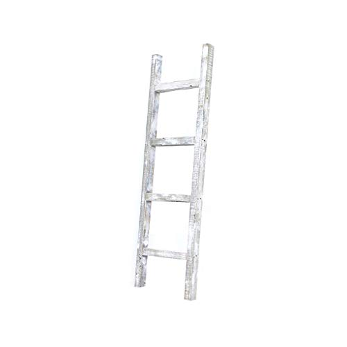 BarnwoodUSA Rustic Farmhouse Decorative Ladder Our 4 Ft Ladder Can Be Mounted Horizontally Or Vertically And Is Crafted From 100 Recycled And Reclaimed Wood No Assembly Required White Wash 0