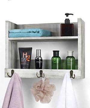 Bathroom Shelf With Hooks Towel Rack With Shelf Wall Mount Towel Hooks With Shelf For Bathroom Floating Shelf Rustic Farmhouse 0 300x360