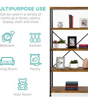 Best Choice Products 5 Tier Rustic Industrial Bookshelf Display Decor Accent For Living Room Bedroom Office WMetal Frame Wood Shelves Brown 0 1 300x360