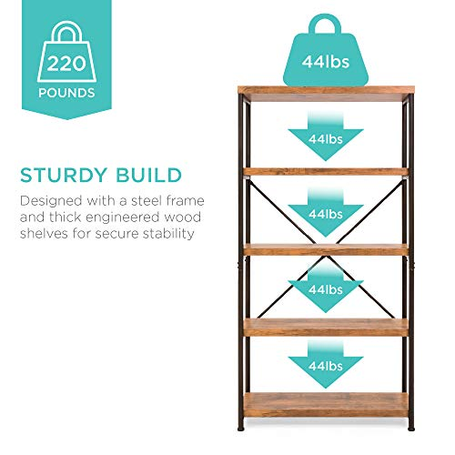 Best Choice Products 5 Tier Rustic Industrial Bookshelf Display Decor Accent For Living Room Bedroom Office WMetal Frame Wood Shelves Brown 0 3