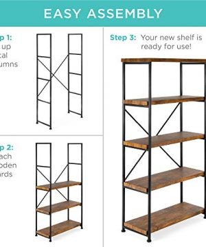 Best Choice Products 5 Tier Rustic Industrial Bookshelf Display Decor Accent For Living Room Bedroom Office WMetal Frame Wood Shelves Brown 0 4 300x360