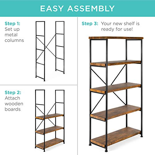 Best Choice Products 5 Tier Rustic Industrial Bookshelf Display Decor Accent For Living Room Bedroom Office WMetal Frame Wood Shelves Brown 0 4