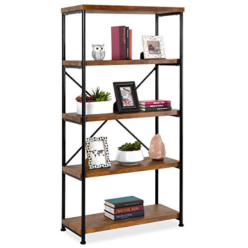 Best Choice Products 5 Tier Rustic Industrial Bookshelf Display Decor Accent For Living Room Bedroom Office WMetal Frame Wood Shelves Brown 0